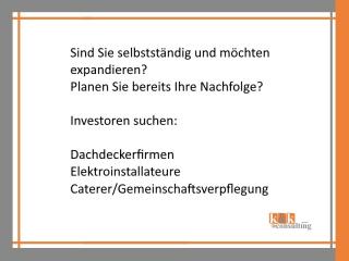 Investoren suchen KMU